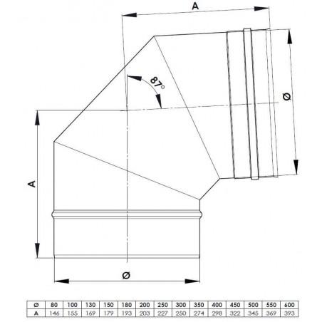 plan coude 87 - conduit de fumée simple paroi