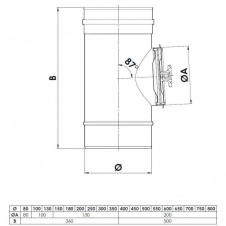plan élément inspection 200 Pa - conduit de fumée simple paroi