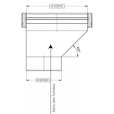 plan raccord chaudière mâle excentré - conduit de fumée double paroi isolé