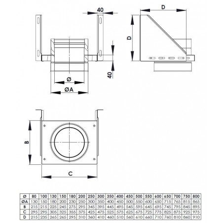 plan support mural ajustable - conduit de fumée double paroi isolé