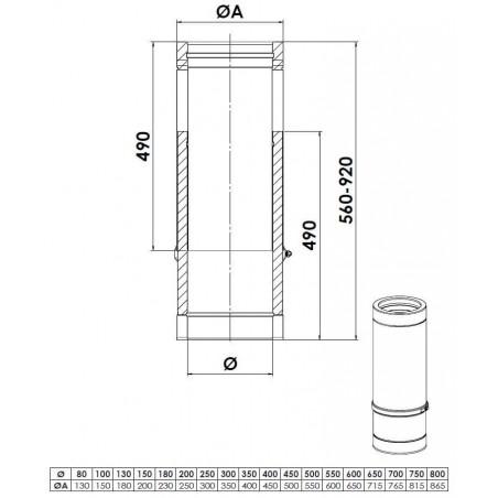 plan élément droit réglable 560 mm - conduit de fumée double paroi isolé