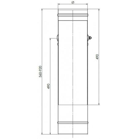 plan élément droit reglable 560-920 mm - conduit de fumée simple paroi