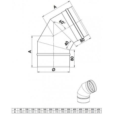 plan coude 60 - conduit de fumée simple paroi