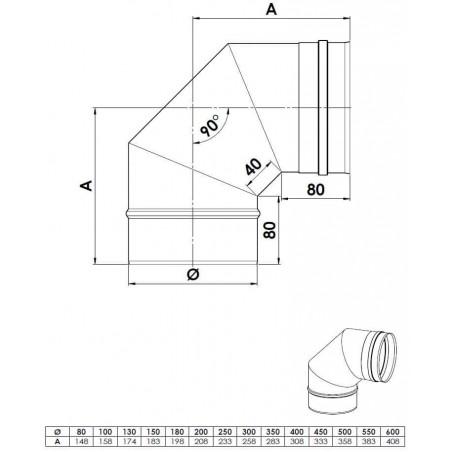 plan coude 90 - conduit de fumée simple paroi
