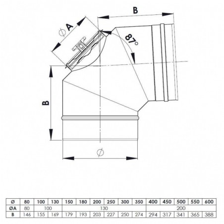 plan coude 87 trappe d'inspection - conduit de fumée simple paroi