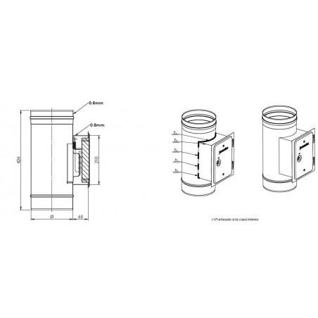 plan élément trappe de visite rectangulaire - conduit de fumée simple paroi