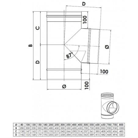 plan té 87 deflecteur - conduit de fumée simple paroi