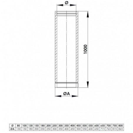 plan élément droit de 1000 mm - conduit de fumée double paroi isolé