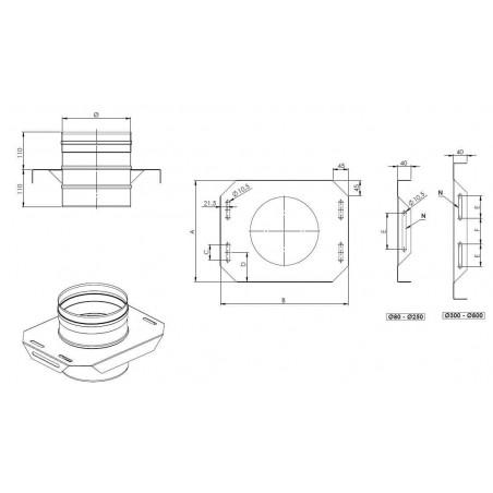 plan plaque de support réglable - conduit de fumée simple paroi