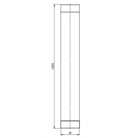 plan élément droit 1000 mm - conduit de ventilation haute simple paroi