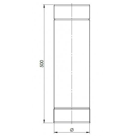 plan élément droit 500 mm - conduit de ventilation haute simple paroi