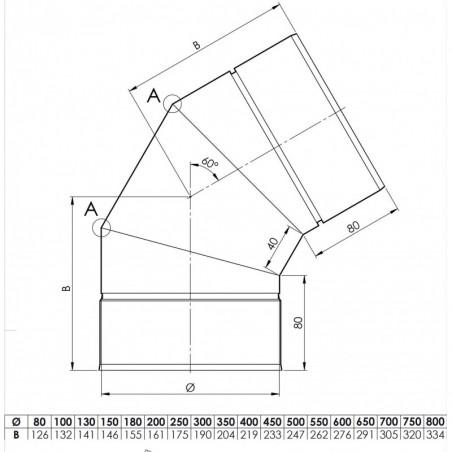 plan coude 60 - conduit de ventilation haute simple paroi