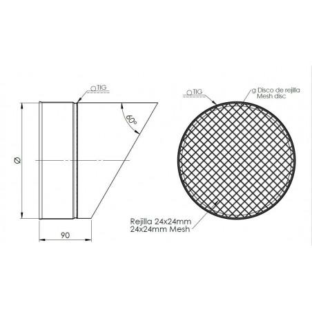 plan sortie sifflet grille - conduit de ventilation haute simple paroi