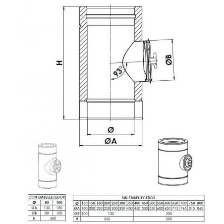 plan élément d'inspection 200 Pa - conduit de fumée double paroi isolé