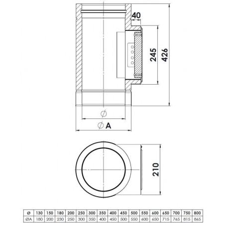 plan élément avec trappe de visite rectangulaire - conduit de fumée double paroi isolé
