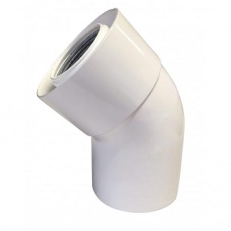 coude 45 - conduit de raccordement concentrique pour chaudière