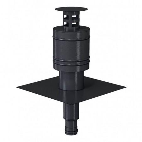 terminal concentrique finition noir - conduit de fumée condensation simple paroi