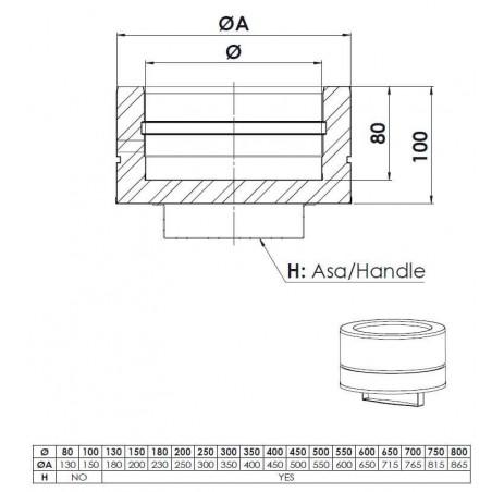 plan tampon bas de - conduit isolé - conduit de fumée double paroi isolé