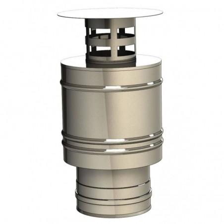 terminal vertical court inox - conduit de fumée concentrique pour poêle à pellet