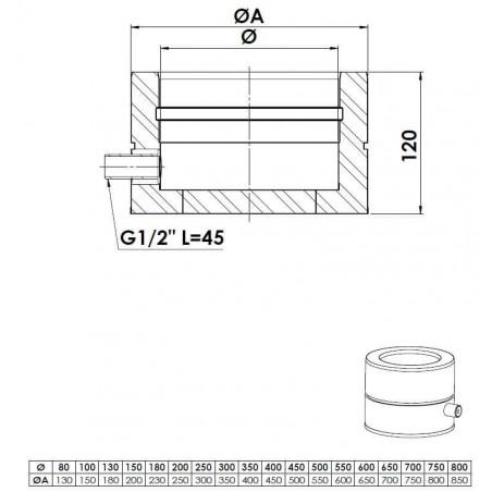 plan tampon purge latérale - conduit de fumée double paroi isolé