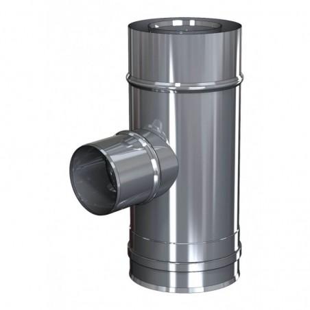 té 87 inox fumées piquage mâle diamètre nominal - conduit de fumée concentrique pour chaudière à pellets