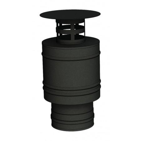 terminal vertical court noir - conduit de fumée concentrique noir poêle à pellets
