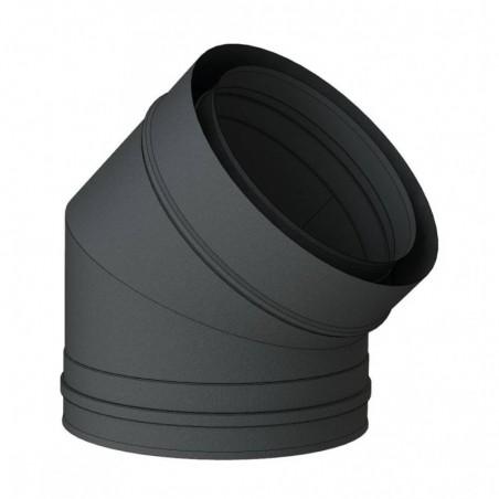 coude 45 noir - conduit de fumée concentrique noir poêle à pellets
