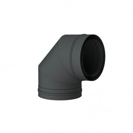 coude 87 noir - conduit de fumée concentrique noir poêle à pellets