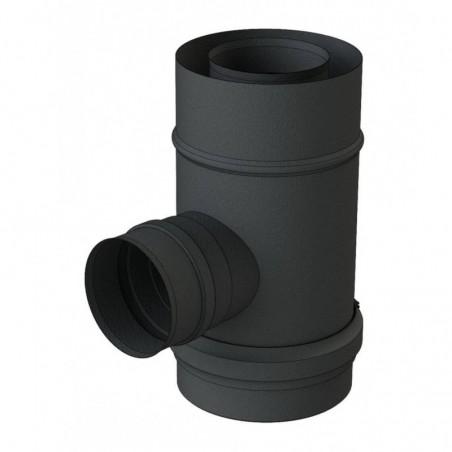 té 90 sortie fumée piquage 80 mm femelle noir - conduit de fumée concentrique noir poêle à pellets