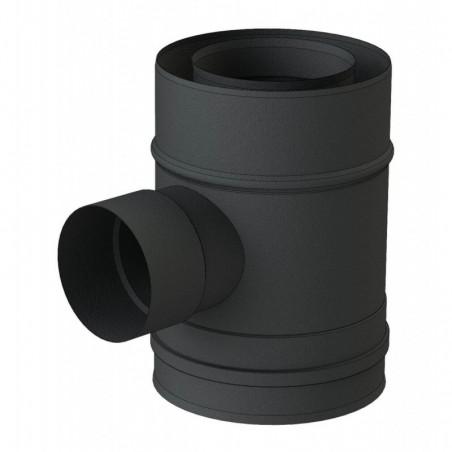 té 90 entrée d'air 60 mm mâle noir - conduit de fumée concentrique noir poêle à pellets