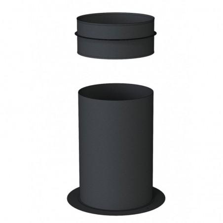 support sol recoupable pour té compact noir - conduit de fumée concentrique noir poêle à pellets