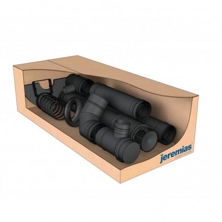 kit box Twin Biomass noir - conduit de fumée concentrique noir poêle à pellets