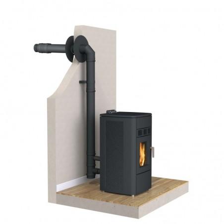 installation kit Twin Biomass noir - conduit de fumée concentrique noir poêle à pellets