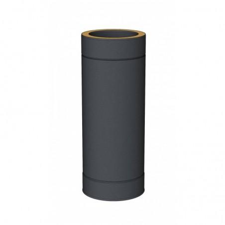 élément droit 500 mm noir - conduit de fumée double paroi isolé noir