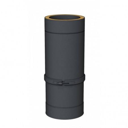élément droit réglable 400-560 mm noir - conduit de fumée double paroi isolé noir