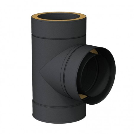te 90 noir - conduit - conduit de fumée double paroi isolé noir