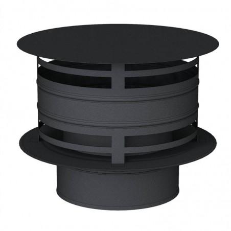 chapeau anti pluie avec protection vent noir - conduit de fumée double paroi isolé noir