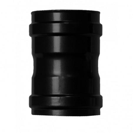 raccord femelle femelle - conduit simple paroi en acier noir mat pour poêle à pellets